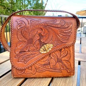 Vintage 70's tooled leather hippie handbag